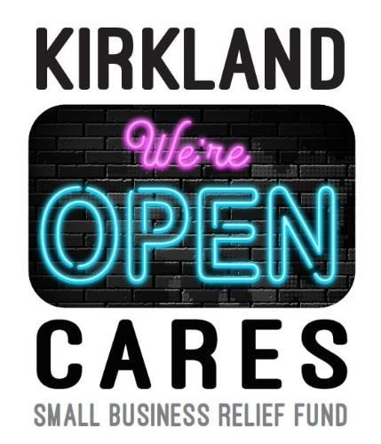 Bright image of Kirkland CARES with a neon we're open sign