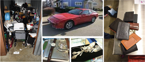 A mash up of police evidence pictures including red car, jewelry and wallets