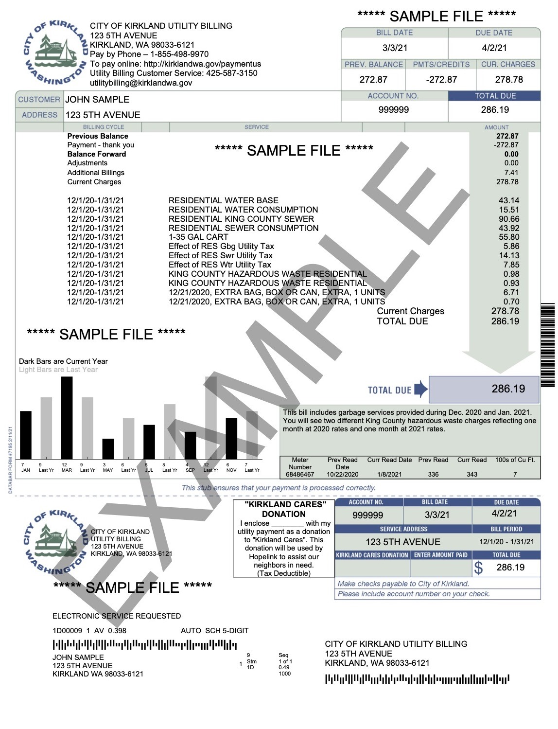 Example of Kirkland Utility Bill