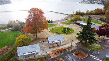Top view of Juanita Beach Park reveals its new bathhouse, playground and pavilions