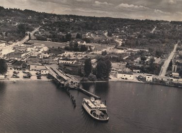 A ferry departs Downtown Kirkland in 1949