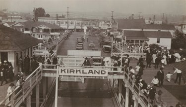 Downtown Kirkland and Lake Street in 1923 as seen from the departing Ferry Lincoln
