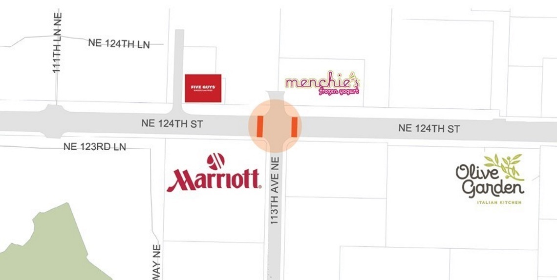 Map of project location on NE 124th Street