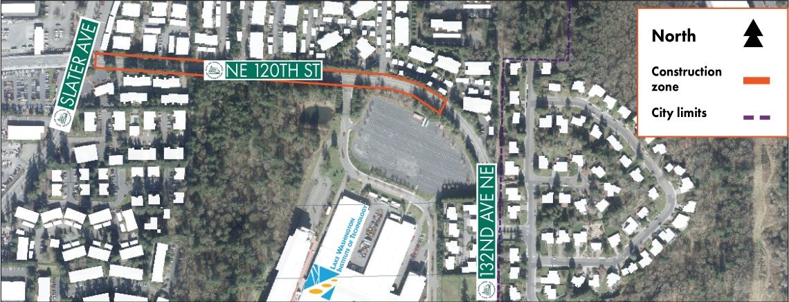 Map of the NE 120th Street Water Quality Project between slater and 132nd Ave NE