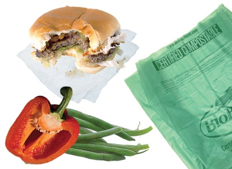 food scraps with compostable bag