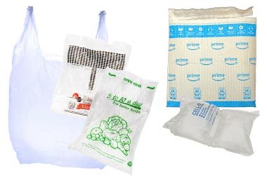 collection of plastic bags and plastic film including a shipping envelope