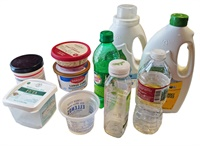 recyclable plastic bottles, jugs, and tubs for recycling