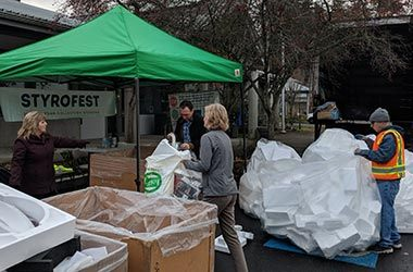 StyroFest styrofoam recycling event hosted by City of Kirkland at the Public Works Maintenance Center