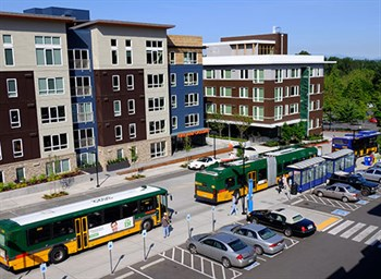 TOD (transit oriented development) at the South Kirkland Park and Ride with a transit center and apartments